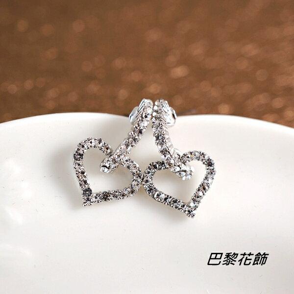 雪白甜心 甜美亮眼水晶耳環~巴黎花飾~
