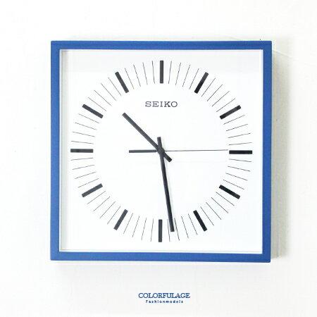 SEIKO精工時鐘  方型藍色框刻度 掛鐘 滑動式靜音秒針 柒彩年代~NG1733~ 貨