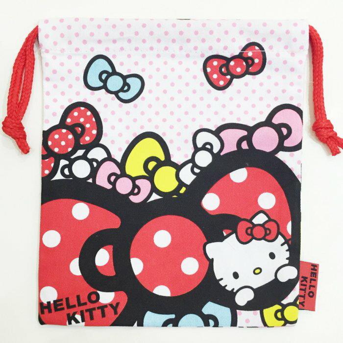 Hello Kitty 束口袋 帆布 收納袋 置物袋 蝴蝶結 點點  文具   限定販售