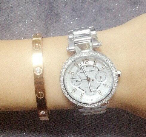美國Outlet正品代購 MichaelKors MK  銀色陶瓷 水鑽 三環 手錶 腕錶 MK5615 6