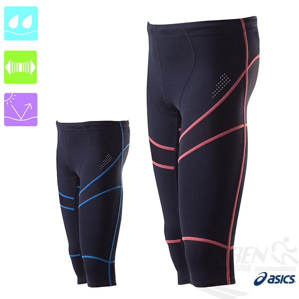 ASICS亞瑟士 男七分緊身褲(黑紅) 吸汗、抗紫外線