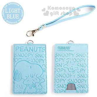 〔小禮堂〕史努比 票卡夾《淺藍.側站.擁抱.文字.印壓.附掛勾》