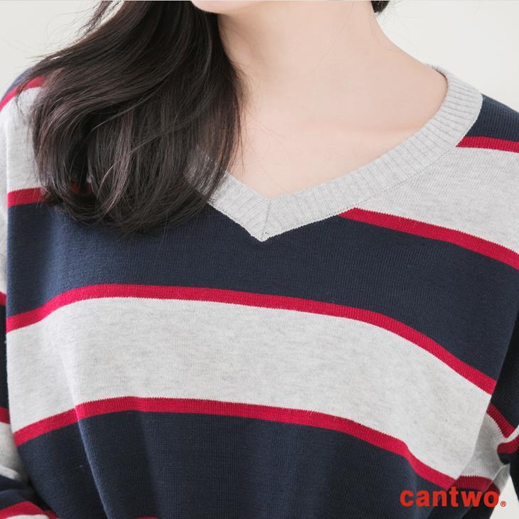 cantwo復古三色條紋V領針織上衣(共二色) 4
