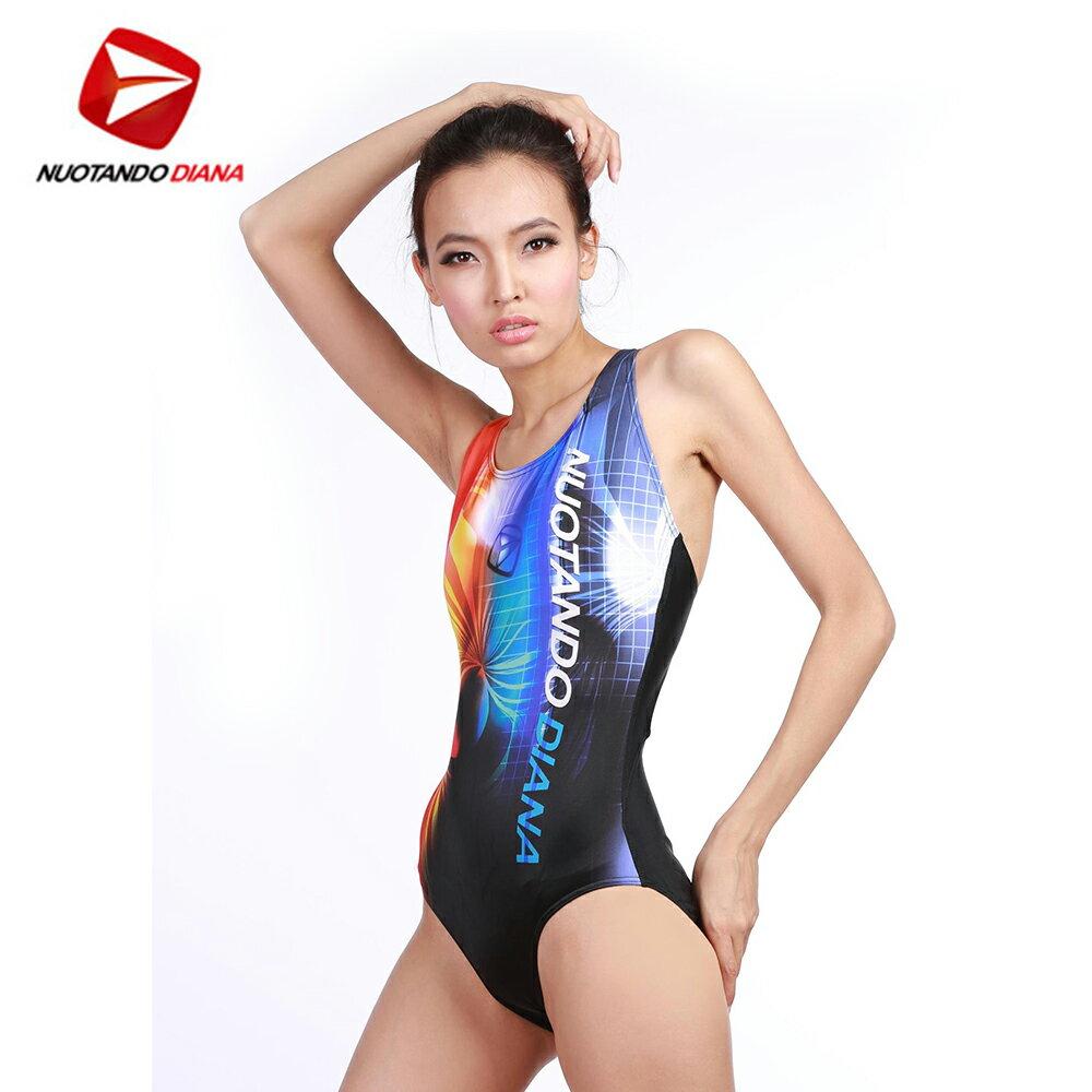義大利DIANA成人時尚連身泳裝橘藍色-N110012 - 限時優惠好康折扣