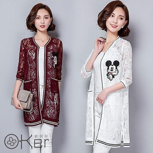 韓版米奇刺繡鏤空防曬薄外套 O-Ker歐珂兒 LLA7575