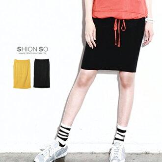 享瘦衣舍中大尺碼【B2112】韓版亮眼必備糖果色鬆緊棉質中長窄裙