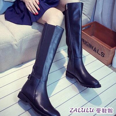 歐美簡約平底低跟側拉鍊皮帶扣長靴