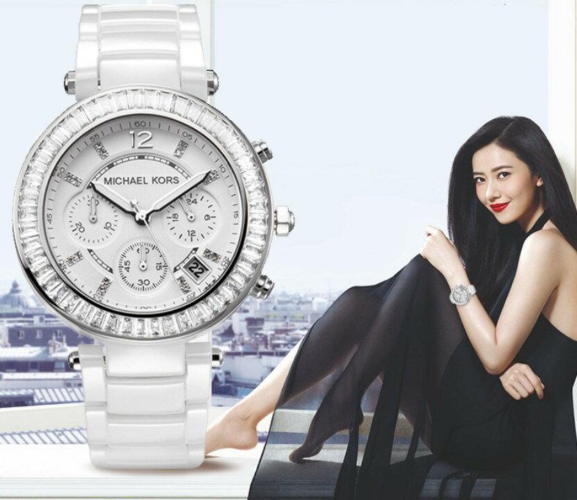 美國Outlet正品代購 MichaelKors MK 陶瓷 水鑽 三環 手錶 腕錶 MK5848 6