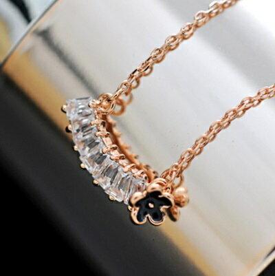 玫瑰金項鍊水晶純銀吊墜~ 優雅小花長方形七夕情人節 女飾品73dw132~ ~~米蘭 ~
