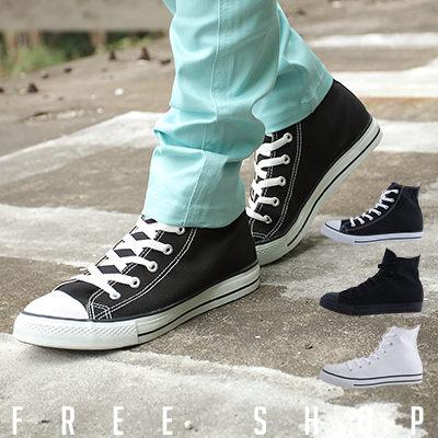Free Shop【QSH0178】街頭潮流百搭復古日系素面綁帶高筒休閒帆布鞋‧三色 (TP52) all star風