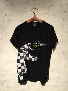 [Anson king] 正品 國外代購 agnes b.sport b 刺繡 格子 黑白恐龍 短袖 圓領 男款 T恤 上衣 黑