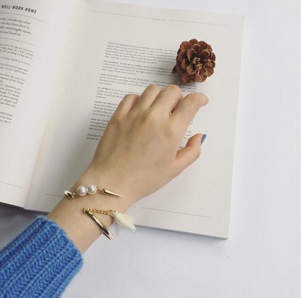 PS Mall 手鐲 新品別致珍珠流蘇混搭金屬 手鏈手鐲 手環~G1995~ ~  好康折