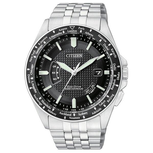 CITIZEN星辰CB0027-51E城市獵手光動能電波腕錶/黑面43mm