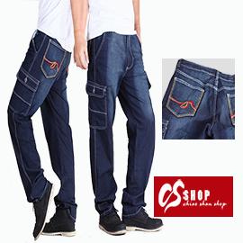 CS衣舖 線條刺繡 美式立體大口袋 牛仔工作褲 7184