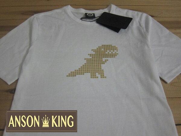 [Anson king]outlet國外代購 agnes b.sport b 燙金恐龍 短袖 圓領 男款 T恤 白