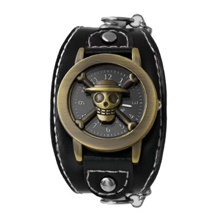 One Piece 海賊王 經典骷髏開蓋式雅痞造型鎖鍊手錶 黑色皮革 柒彩年代【NE1760】原廠平行輸入 0