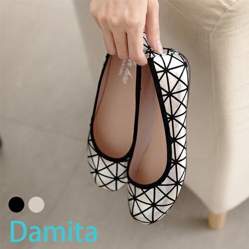 娃娃鞋- Damita -熱銷款幾何菱形復古娃娃鞋 ( 2色 ) 現+預