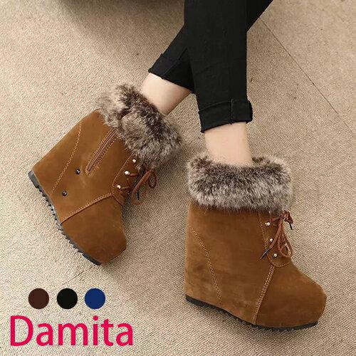 短靴-Damita 韓版絨毛綁帶楔型短靴 ( 3色 ) 現+預