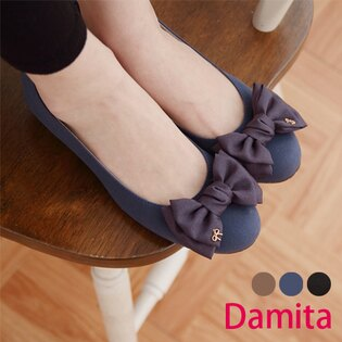 Damita  雪紡大朵結絨質造型低跟娃娃鞋 ( 3色 23~25 )