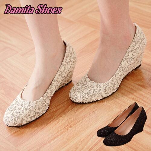Damita    楔型跟鞋‧蕾絲緹花金蔥氣質美鞋 ( 2色 ) 【現+預】