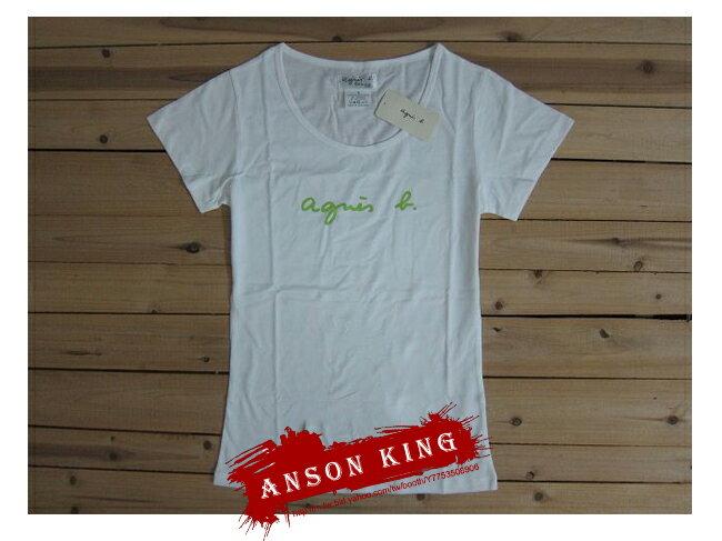 [Anson king]outlet國外代購 agnes b 綠色 字母 草寫 短袖 圓領 女款 T恤 白 - 限時優惠好康折扣
