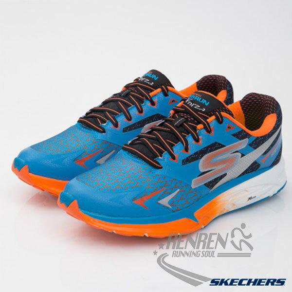 SKECHERS 男慢跑鞋GO Run Forza (藍x橘) 輕量化網布  避震緩衝