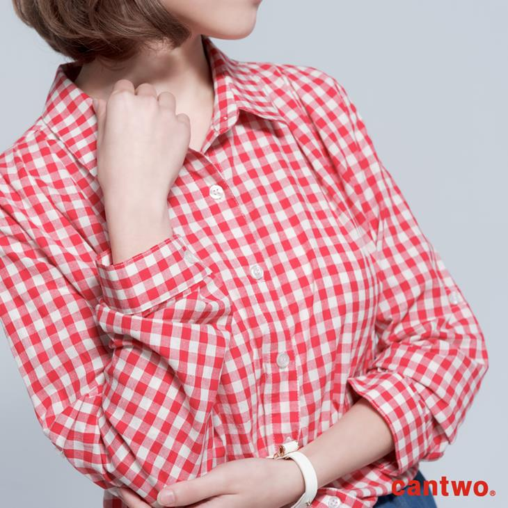 cantwo雙色格紋丹寧假兩件長袖洋裝(共三色) 4