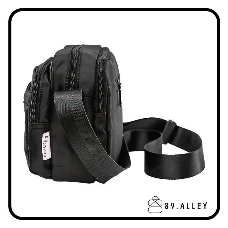 側背包 女包男包 黑色系防水包 輕量尼龍直式雙層情侶斜背包 89.Alley 2