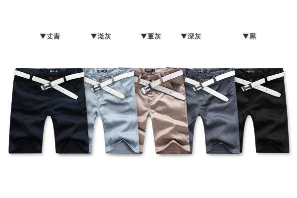 ☆BOY-2☆【NQQ8002】五分褲韓版休閒簡約素面皮標短褲 2