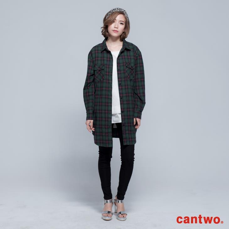 cantwo男友風格紋長版襯衫(共二色) 1