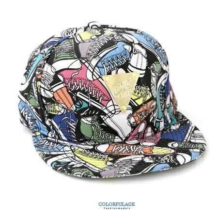 棒球帽 可愛圖樣滿版布面鞋子造型潮流平板帽 佩戴舒適透氣 可遮陽裝飾 柒彩年代【NH197】中性款 0