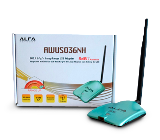 PACK ADAPTADOR WIFI ALFA AWUS036NH Y ROUTER ALFA R36 1