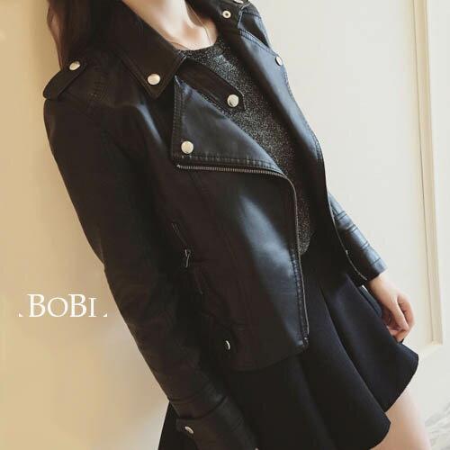 短版皮衣 貼身短版金屬元素長袖外套【KLG7】 BOBI  09/08 0