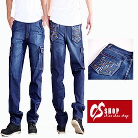CS衣舖 質感立體刺繡 美式大口袋 牛仔工作褲 7204