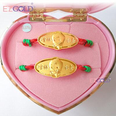 EZGOLD ♥豎琴天使♥ 彌月金飾音樂禮盒 (0.10錢)