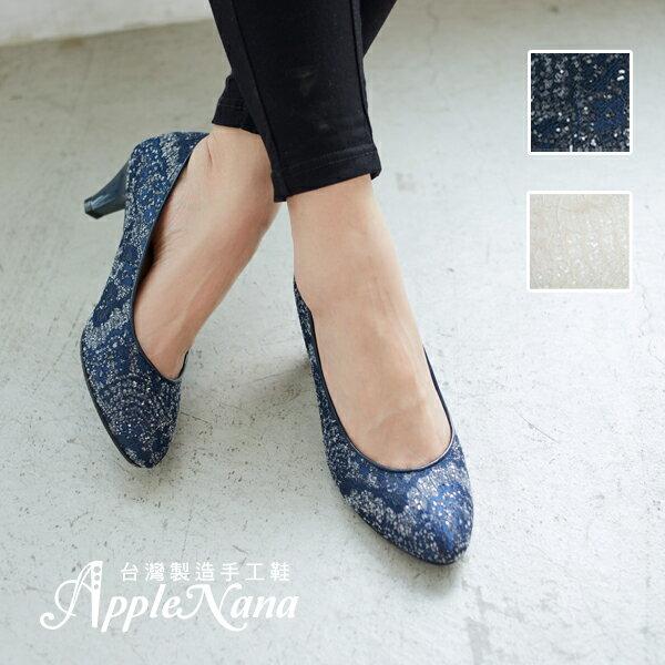 AppleNana蘋果奈奈【QC130381380】夢幻禮堂絕美亮片蕾絲高跟鞋 0