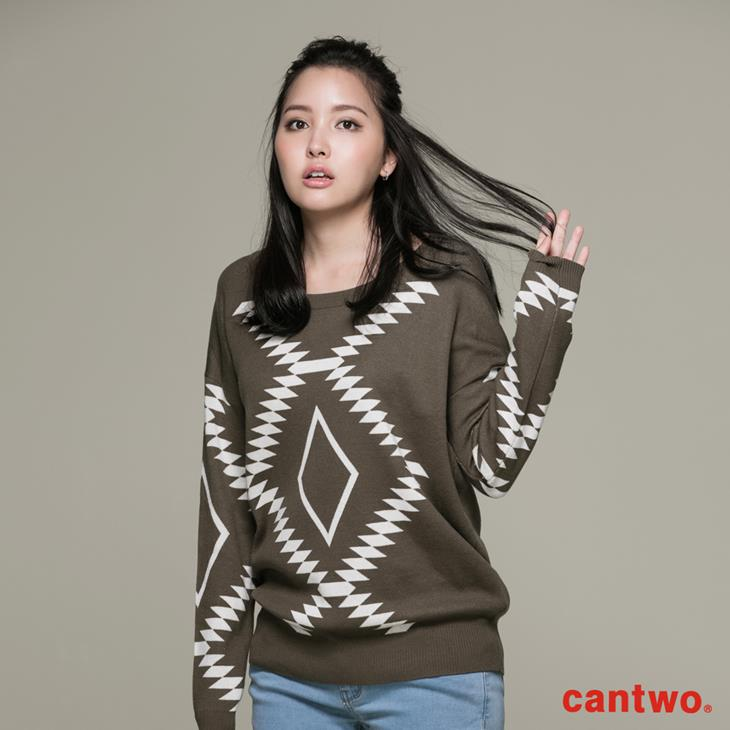 cantwo幾何民俗圖紋針織上衣(共三色) 1