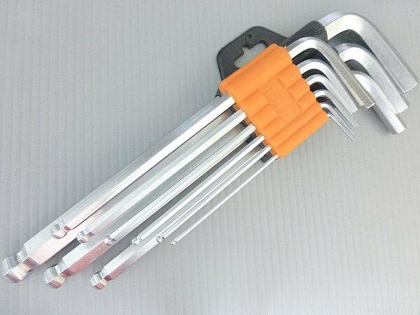 《意生》CR-V合金鋼硬化熱處理九合一平口球頭內六角扳手工具組 六角板手套裝球型6角9件九件拓森球型