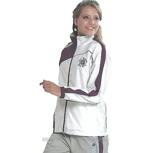 義大利名牌SINA COVA女版平織網裡運動服套裝-全套(白灰)#SW8202AB 0
