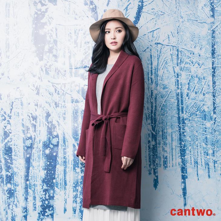 cantwo素色絲瓜領針織睡袍外套(共三色) 1