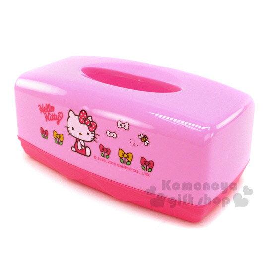 〔小禮堂〕Hello Kitty 塑膠面紙盒《粉.側坐.蝴蝶結.蝴蝶結花》