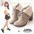 格子舖*【KTW6671】MIT台灣製 韓版時尚質感麂皮 綁帶7CM粗高跟 反摺柔軟絨布短筒靴 短靴 2色 0