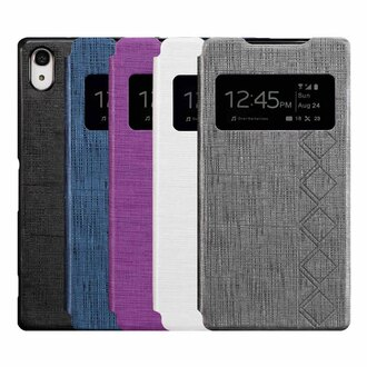 Ultimate- SONY Xperia Z2 (L50w) 異國方格紋來電顯示可立式手機皮套 智慧透視 保護套
