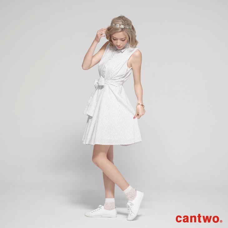 cantow襯衫領無袖洋裝(共三色) 1