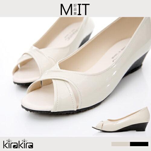 楔型鞋-SALE-kirakira-知性典雅交叉露趾楔型鞋-2色-現+預