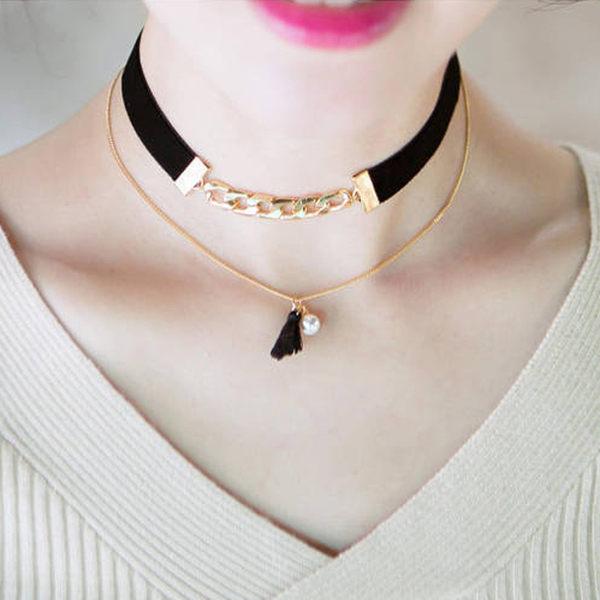 PS Mall 復古超百搭鏈條緞帶雙層流蘇珍珠頸鏈短款鎖骨項鍊女配飾品~G1944~