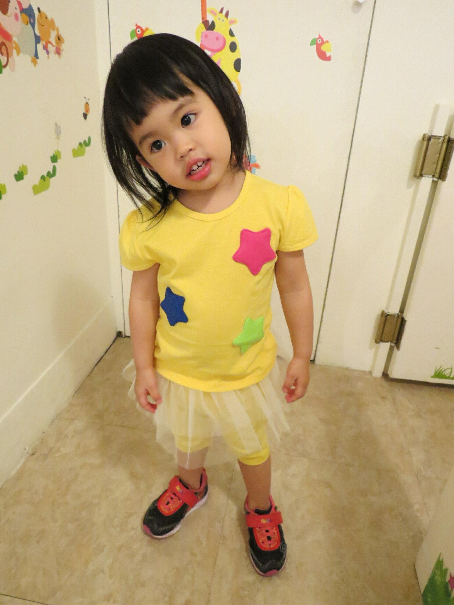 熱汽球潮流 ^~ 製^~^( ^)女童短袖上衣 蕾絲褲裙套裝  黃色