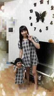 熱汽球潮流童裝~女童長版短袖格紋上衣