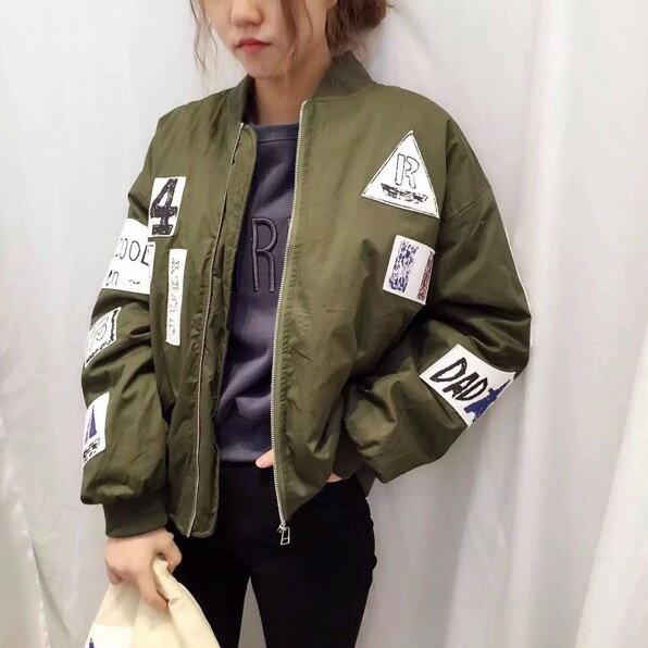 PS Mall 寬鬆蝙蝠袖原宿風塗鴉BF情侶夾克棒球外套 大衣【T2438】