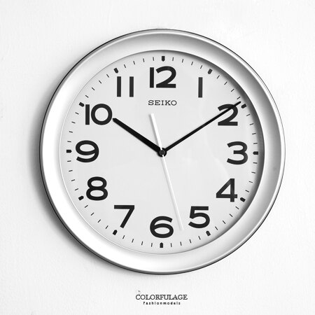 SEIKO精工時鐘 簡約銀灰色清晰大數字掛鍾 大尺寸適合公司/學校/戶外 柒彩年代【NE1620】原廠公司貨 0